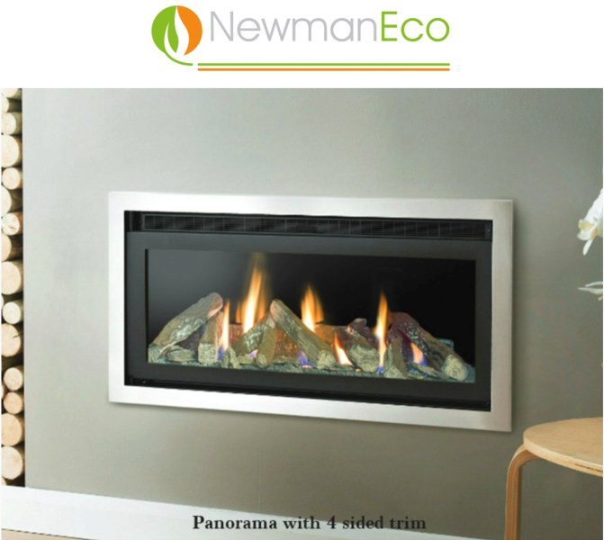 Newmans - Panorama H/E Gas Fire with Stainless Steel trim