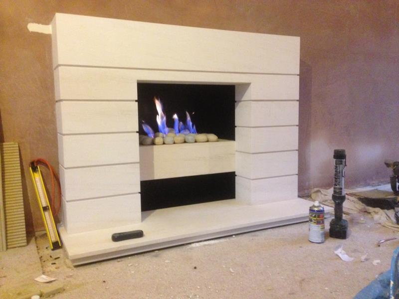Bespoke Limestone Gas Fireplace made to customers specifications
