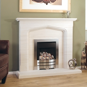 The Algarve Limestone Fireplace