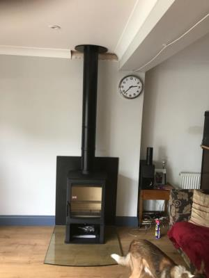 Aspect 5 with log stand and Glass Hearth