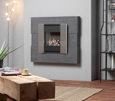 Burley Image Brushed Steel Flueless Gas Fire