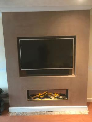Evonic electric fire and Chimney breast built