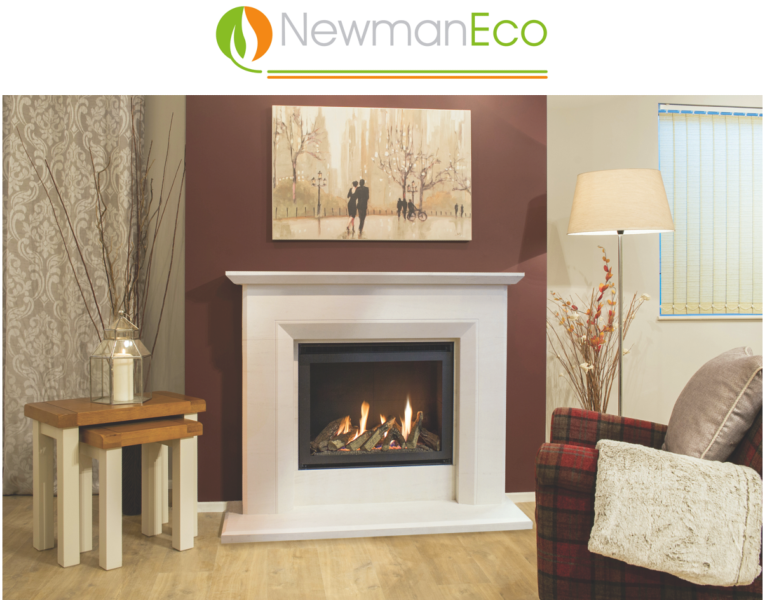 Newmans - View H/E Gas Fire shown with Santiago Fireplace