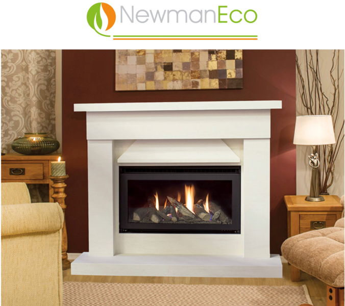 Newmans - Clarity H/E Gas Fire shown with Eco Solent Fireplace