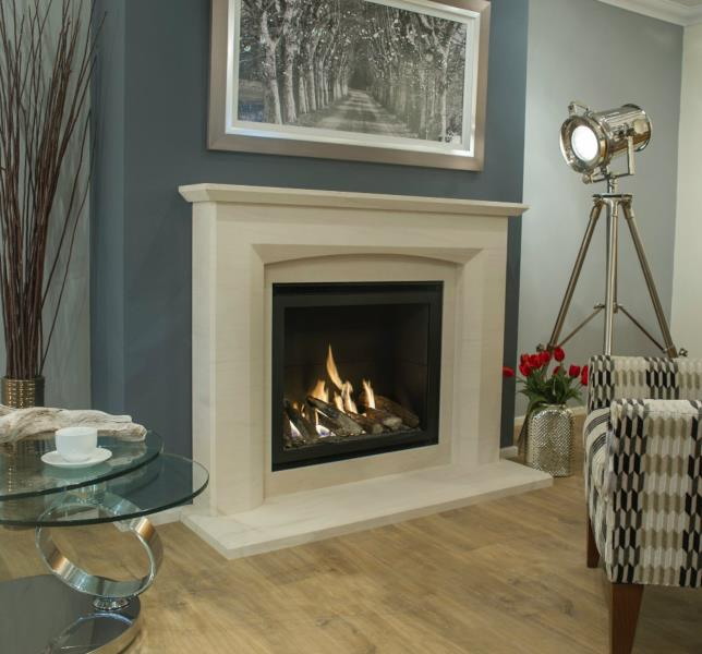 Newmans - Ultra Vision H/E Gas Fire shown with Eco Mereta Fireplace