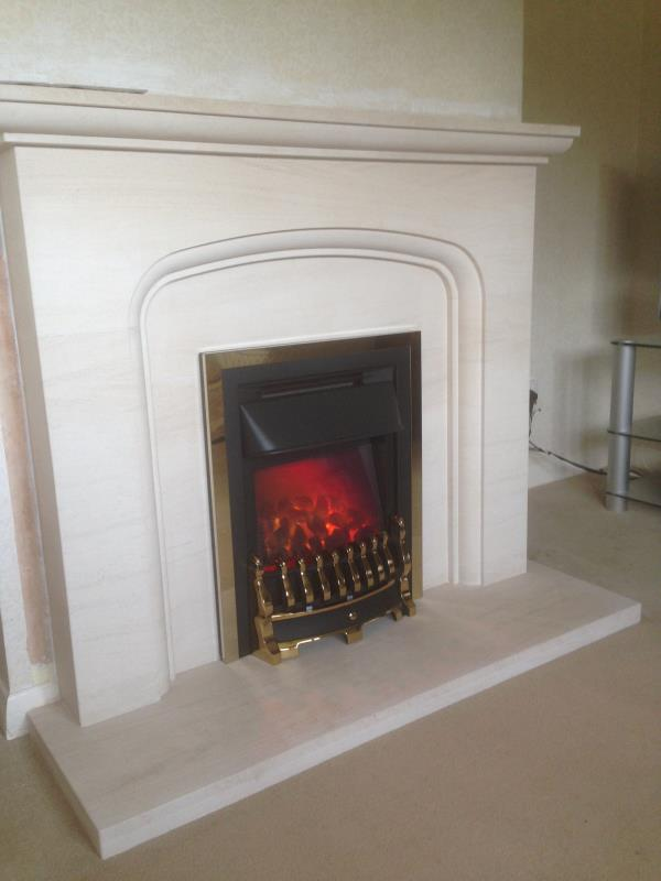 Lavente Limestone Fireplace and Valor Dimension Electric Fire
