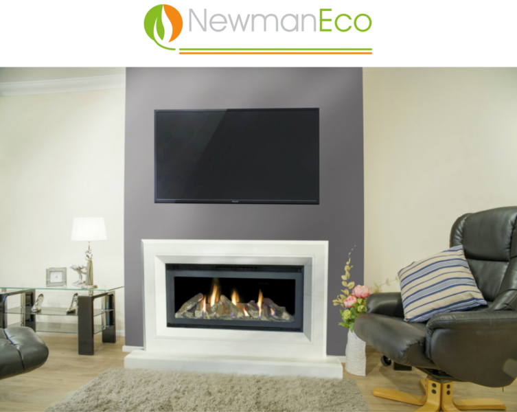Newmans - Panorama H/E Gas Fire shown with Eco Serenity Fireplace