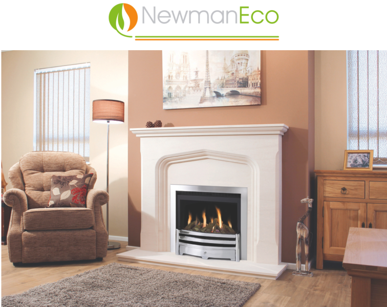 Newman - Elegance H/E Gas Fire shown with Ribeiro Fireplace