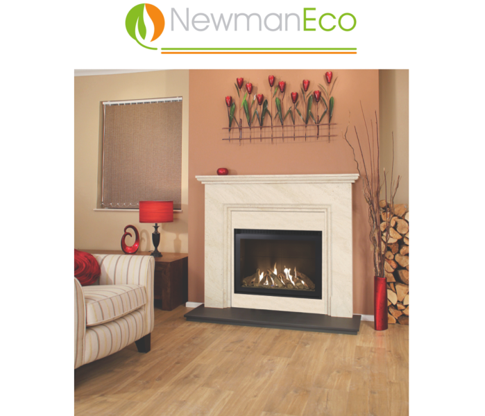 Newmans - View H/E Gas Fire shown with Andorra Fireplace