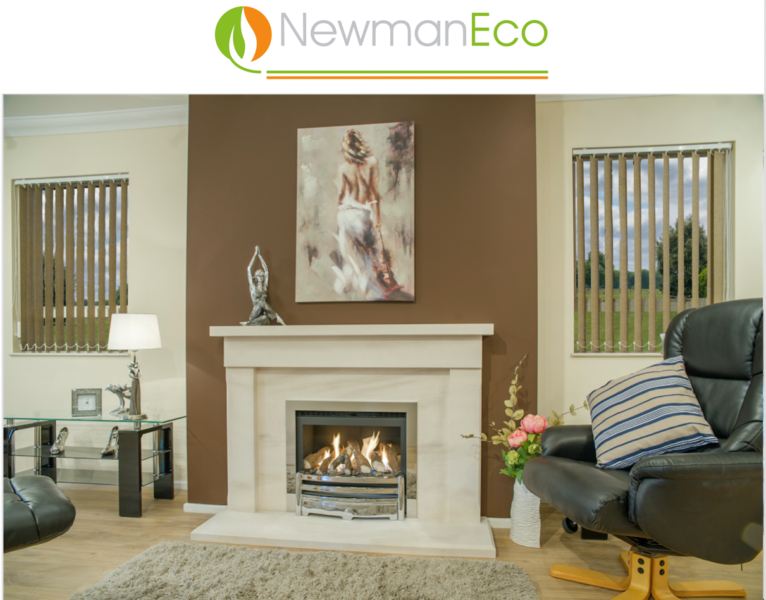 Newmans - Elegance H/E Gas Fire shown with Eco Cromwell Fireplace