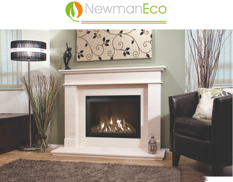 Newmans - View H/E Gas Fire shown with Rio Fireplace